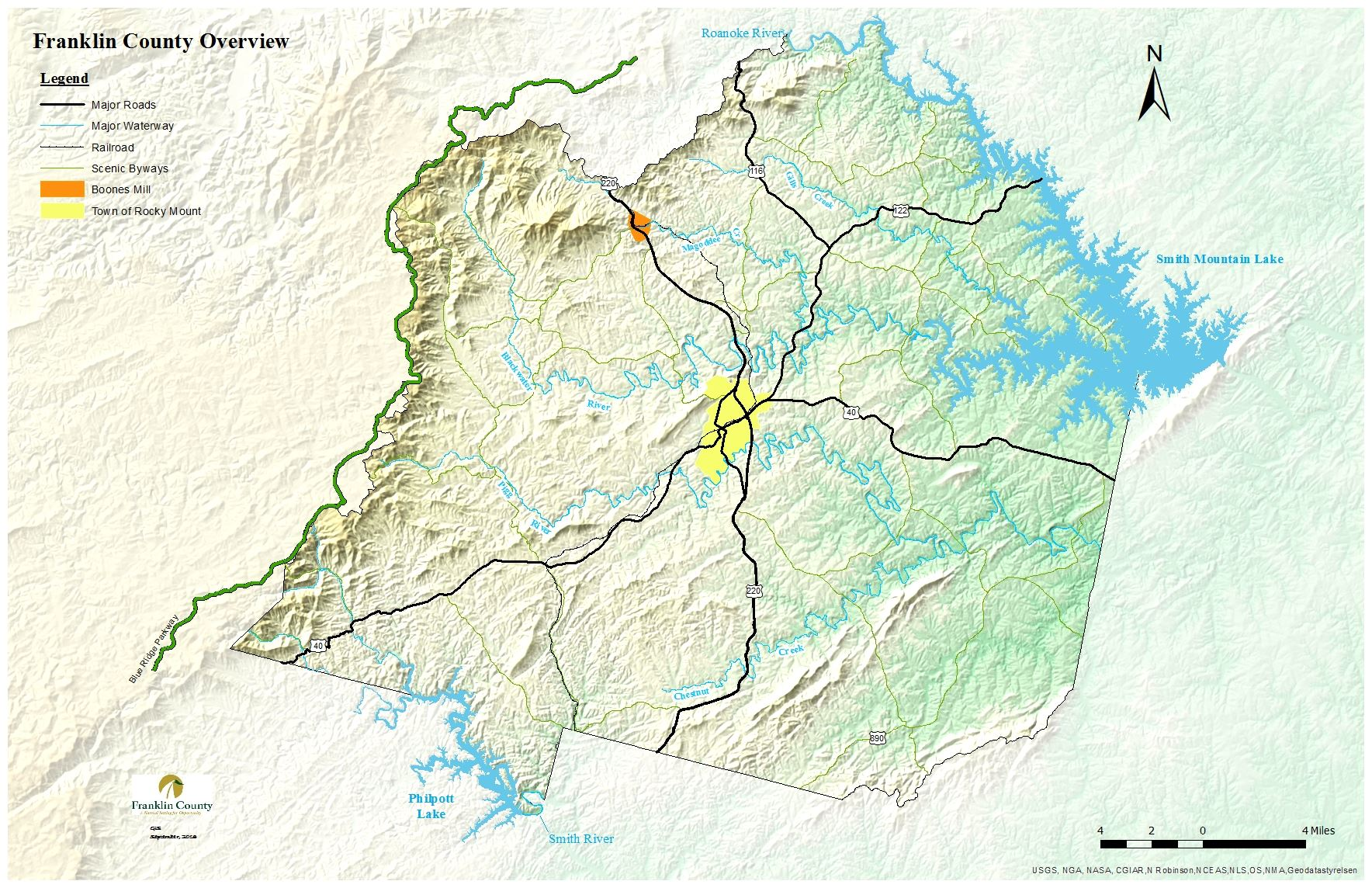 Franklin County Map showing major roadways, major waterways, railroads, scenic byways, Boones Mill,