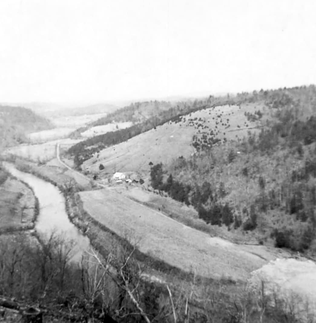 Black and white photo of a hillside